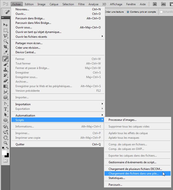 Chargement des fichiers dans une pile avec Photoshop