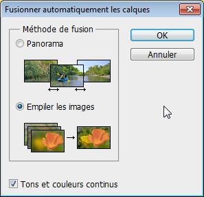 Empiler les images avec Tons et couleurs continus