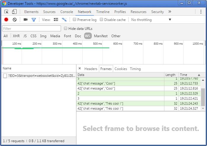 Déboger les WebSocket avec Chrome