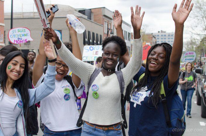 Étudiantes à la Marche monde 2017