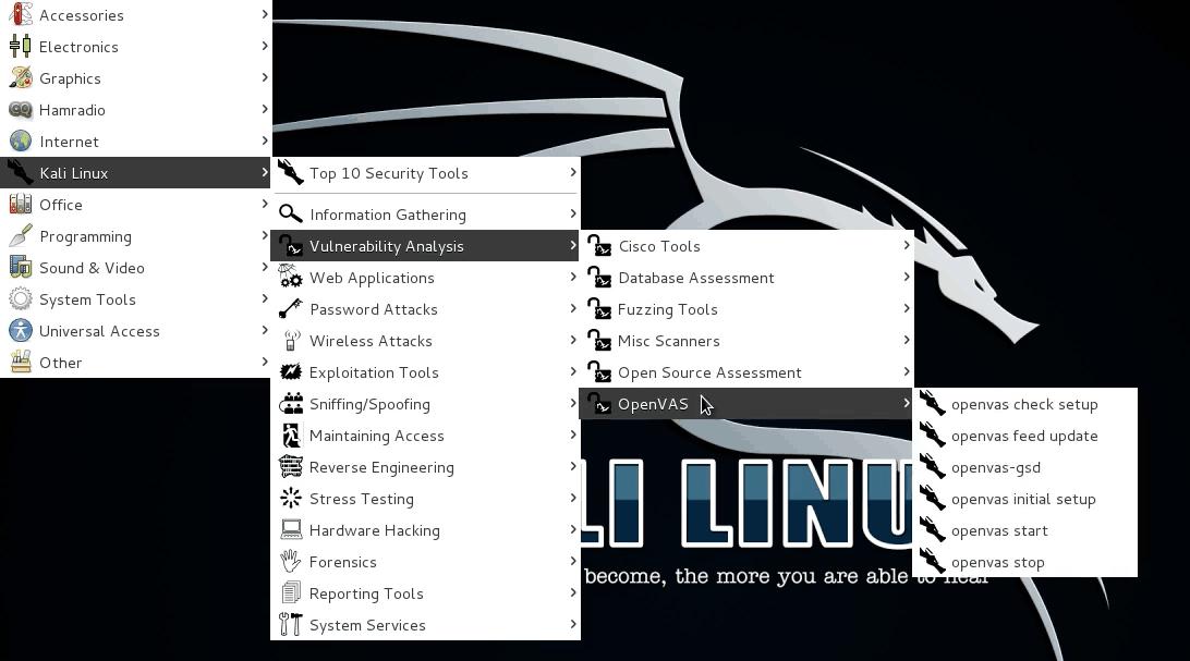 Menu principal de Kali Linux