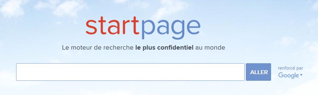 Page d'accueil de StartPage