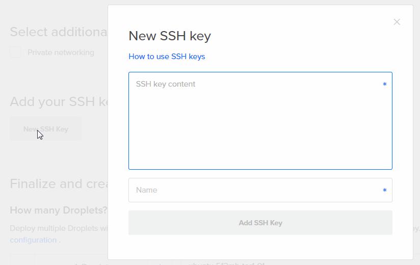 Fenêtre de création d'un clé SSH