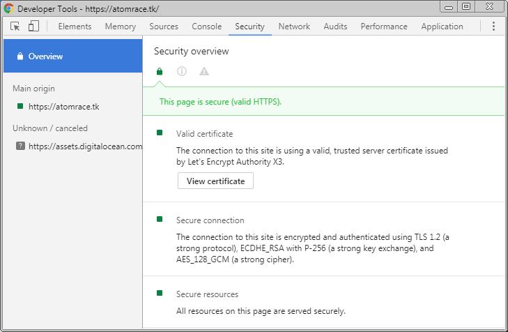 Certificat de sécurité pour le nouveau nom de domaine