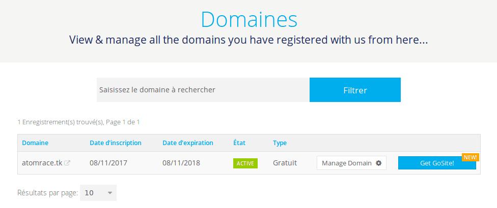 Liste des domaines réservés sur freenom.com
