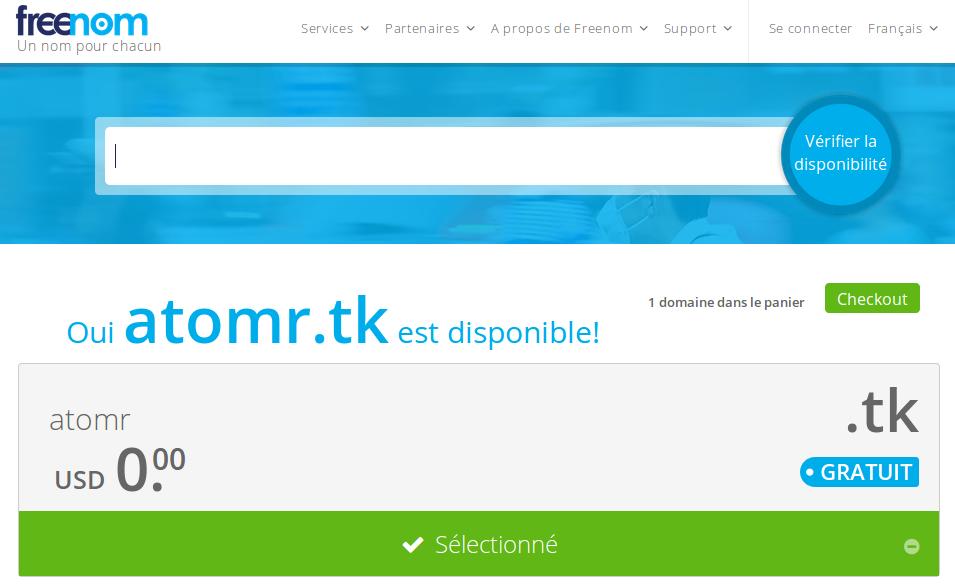 Capture écran : rechercher un nom de domaine sur freenom.com