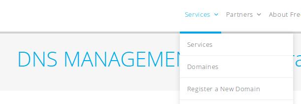 Menu des services sur freenom.com