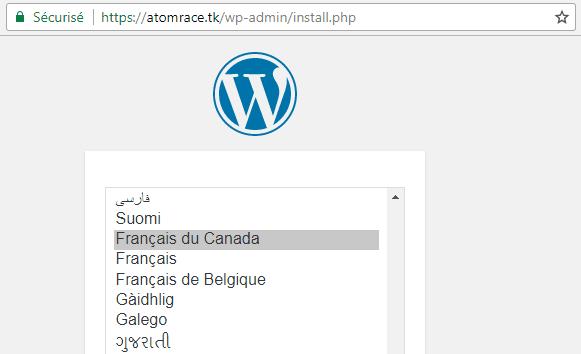 Fenêtre d'installation de WordPress